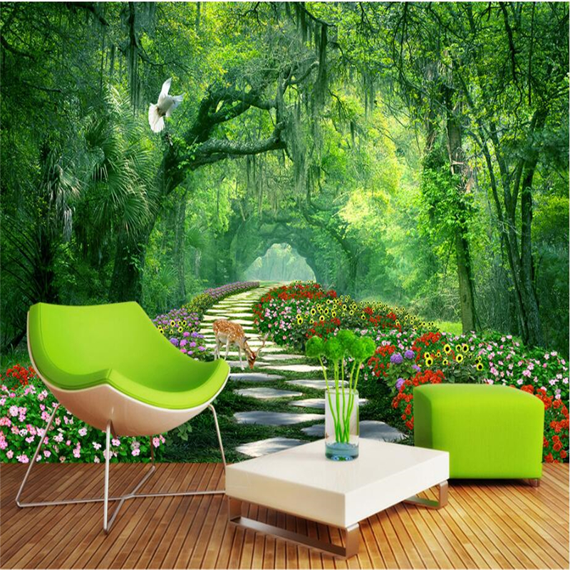 beibehang Custom Photo Wallpaper Wall Stickers 3D Mural Trees Park Green Tree Road 3d Landscape Walls papel de parede wall paper beibehang custom marble pattern parquet papel de parede 3d photo mural wallpaper for walls 3 d living room bathroom wall paper