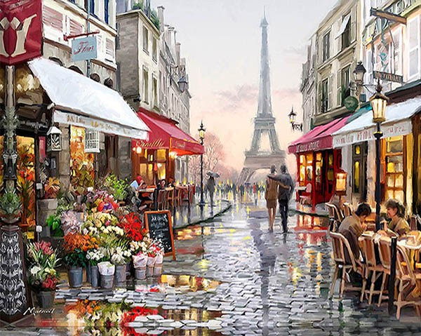 RUOPOTY Paris Street DIY Painting By Numbers Handpainted Canvas Painting Home Wall Art Picture For Living Room Unique Gift 40X50