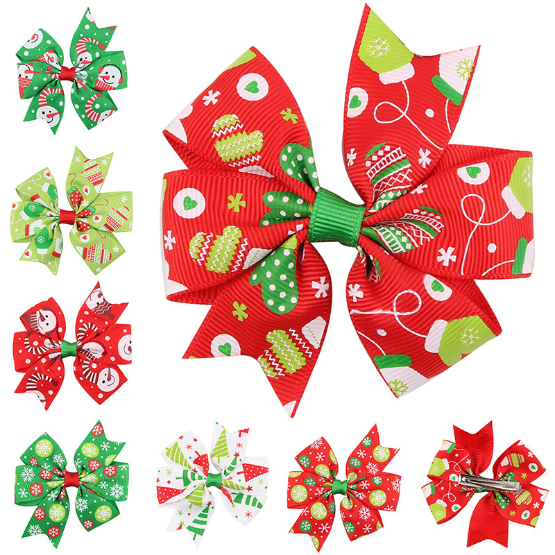 3.1''  Christmas headwear  Bowknot Hairpin Headdress Hairpins Christmas snowflake Bow Hairgrips Hair Clip headwear Free Shipping