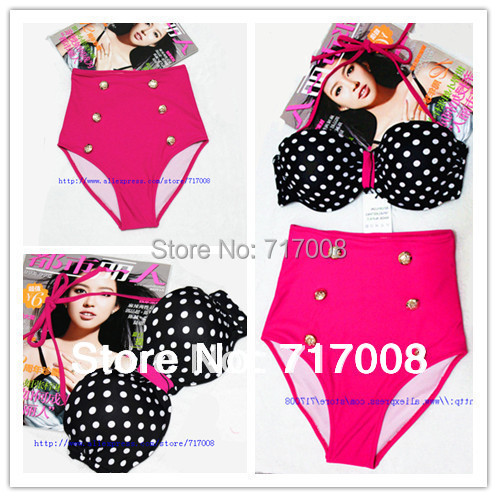 new 2016  hot selling  Fashion female vintage high waist  women polka dot pink beach swimsuit  biquini  bikini swimwear roupas
