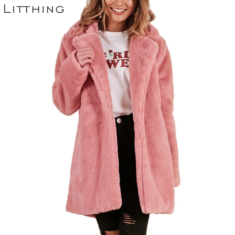 LITTHING Women Faux Fur Coat Elegant Pink Shaggy Streetwear Autumn Winter Warm Plush Teddy Coat Female Plus Size Overcoat Party 1