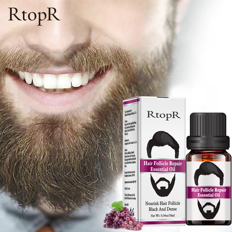 RtopR Moustache Hair Follicle Repair Oil Men Styling Growth Beard Body Eyebrow Care Moisturizing Smoothing 10ml