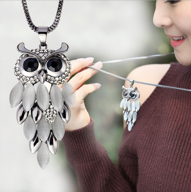 Hot 2016 New Design Shining Crystal Stone Owl Pendants Necklaces Gold Black Long Sweater Chain Necklacs For Women