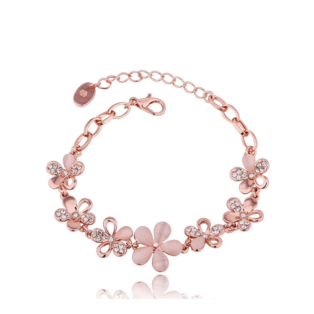 Flower Pattern Bohemian Rose Gold Color Crystal Bracelet with Semi-Precious Stone Jewelry for Women Suitable for Cocktail PartyFlower Pattern Bohemian Rose Gold Color Crystal Bracelet with Semi-Precious Stone Jewelry for Women Suitable for Cocktail Party