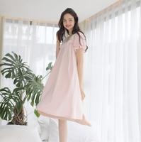 women vintage cotton short sleeve loose long nightgown sweet princess cotton bud silk homewear vestidos