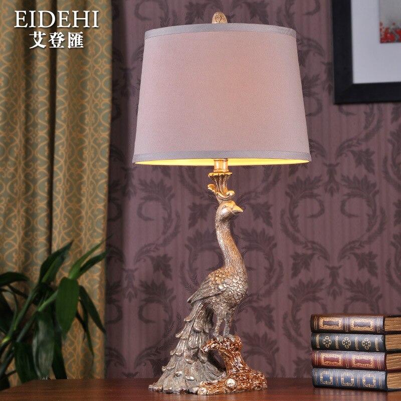 Туда 26X28 см Бесплатная доставка павлин статуя смолы настольные лампы Европейский Стиль роскошные украшения настольные лампы для изучения к...