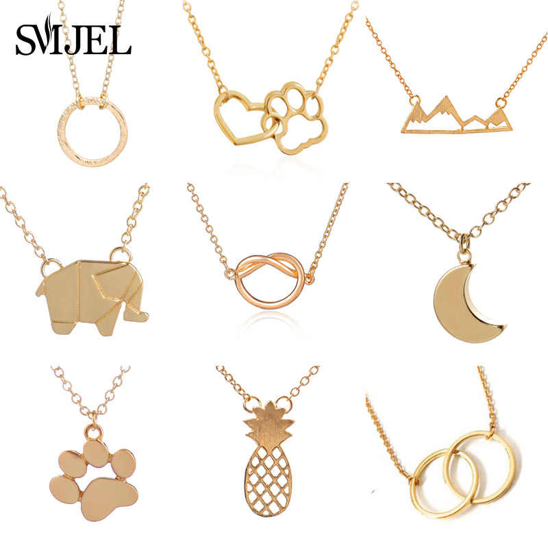 SMJEL Double Circle Necklaces & Pendants collier femme Jewelry Fashion Kids Women Necklaces Dog Paw Charm Dropshipping