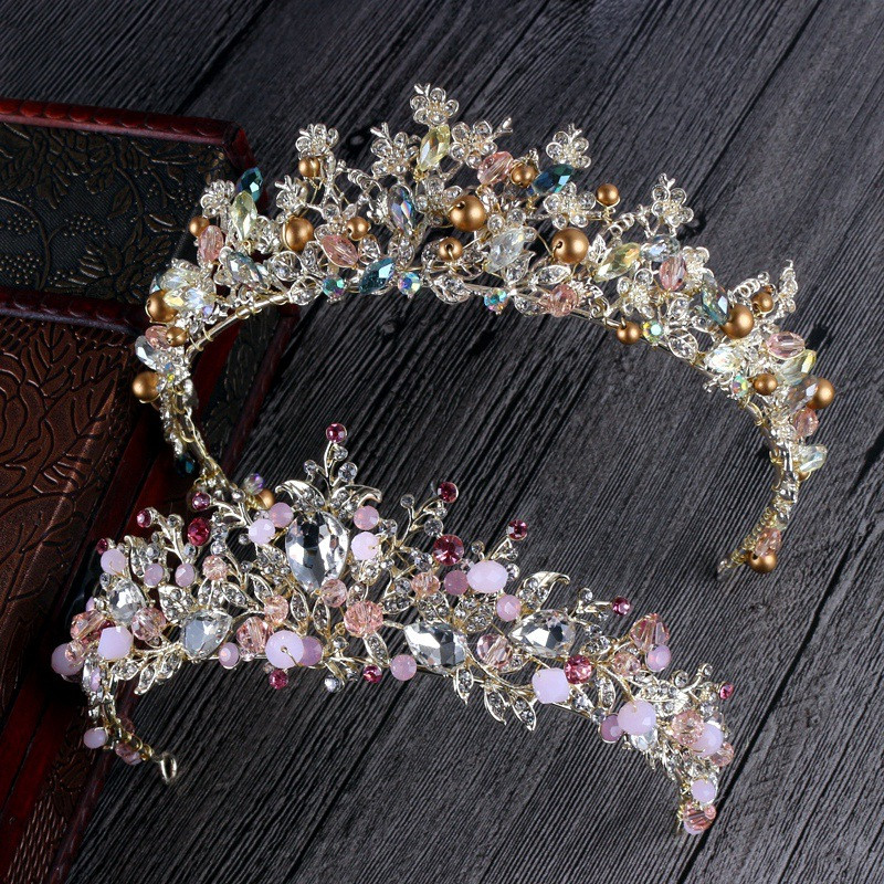 High Grade Multicolor Baroque Crystal Bride Crown Headdress for Women Wedding headwear Jewelry Gift