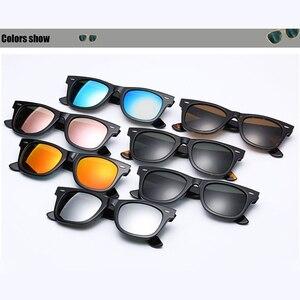 Image 2 - زجاج عدسة نظارات شمسية كلاسيكية النساء الرجال خلات نظارات شمسية 2140 العلامة التجارية الفاخرة برشام تصميم نظارات أنيقة الإناث مربع Oculos