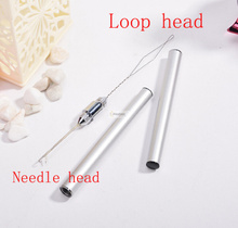 2in1 Metal keration hair needle and loop Indian brazilian extension crochet knitting hook needles styling tools