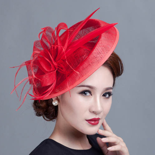 Ladies large ivory feather sinamay hats women hair accessories fancy  fascinators for wedding party and races-in Women s Hair Accessories from  Apparel ... 3ddcdef0578