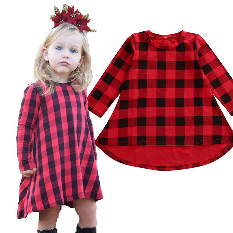 Girls Summer Babies Long Sleeve Plaids Dress NEW Baby Kids Girl Checked Dresses Party Princess Formal Clothing summer 2017 new girl dress baby princess dresses flower girls dresses for party and wedding kids children clothing 4 6 8 10 year