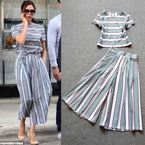 91de01a6e1 2015 Summer Victoria Beckham Style Women Pants Set Fashion Striped Top and  Wide Leg Pants Set Women 2 Piece Pants Sets Outfit-in Women's Sets from  Women's ...