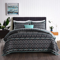 4f7ad8e0ce Free Shipping 3pcs Bohemian Style Stripes Patchwork Quilt Sanding Bedspread  Full Queen King Size Printed Black
