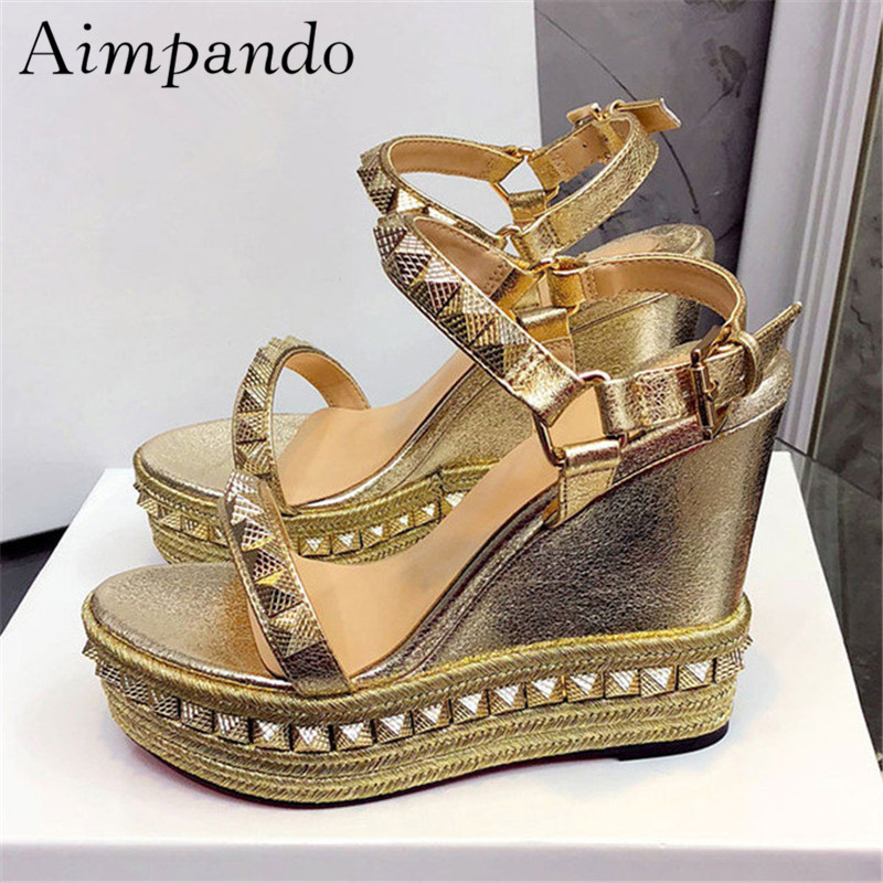 New Summer 2019 Wedges Gladiator Sandals Women Rivet Ankle Strap One strap Suede Holiday Sandalias Mujer