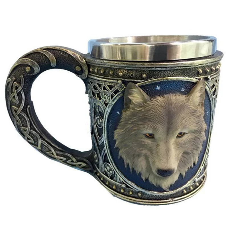 Horror 3D Realistic Wolf King Skull Mugs Double Wall Stainless Steel Animal Wolf Resin Mug Cup Geek Coffee Cup Christmas Gift