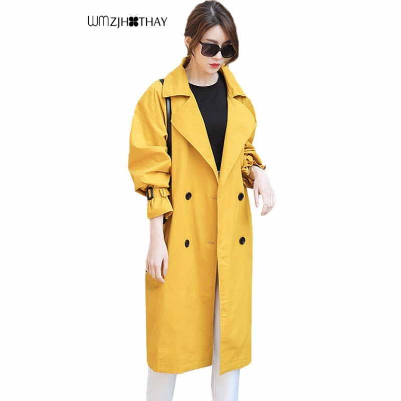 Elegant Yellow Windbreaker Coat 2019 Autumn Women Fashion Casual Wild Loose Female   Trench   Coats Long Double Breasted Outerwear