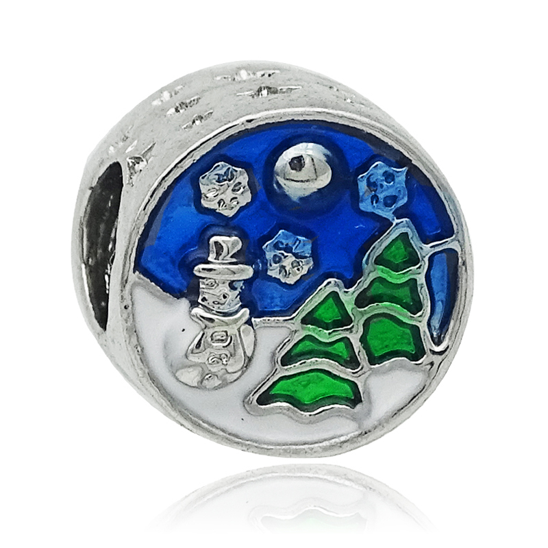 Free shipping 1PC Silver Enamel Christmas Snowman and Tree Beads Charms Fits Pandora Charm Bracelets DIY Fashion Jewelry