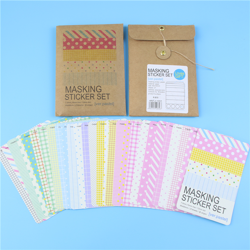 27 PCS  Washi Scrapbook Pastel Masking Tape Craft Stickers Pack Diy Album Diary Decorative Labelling Art Adhesives Memo Pad