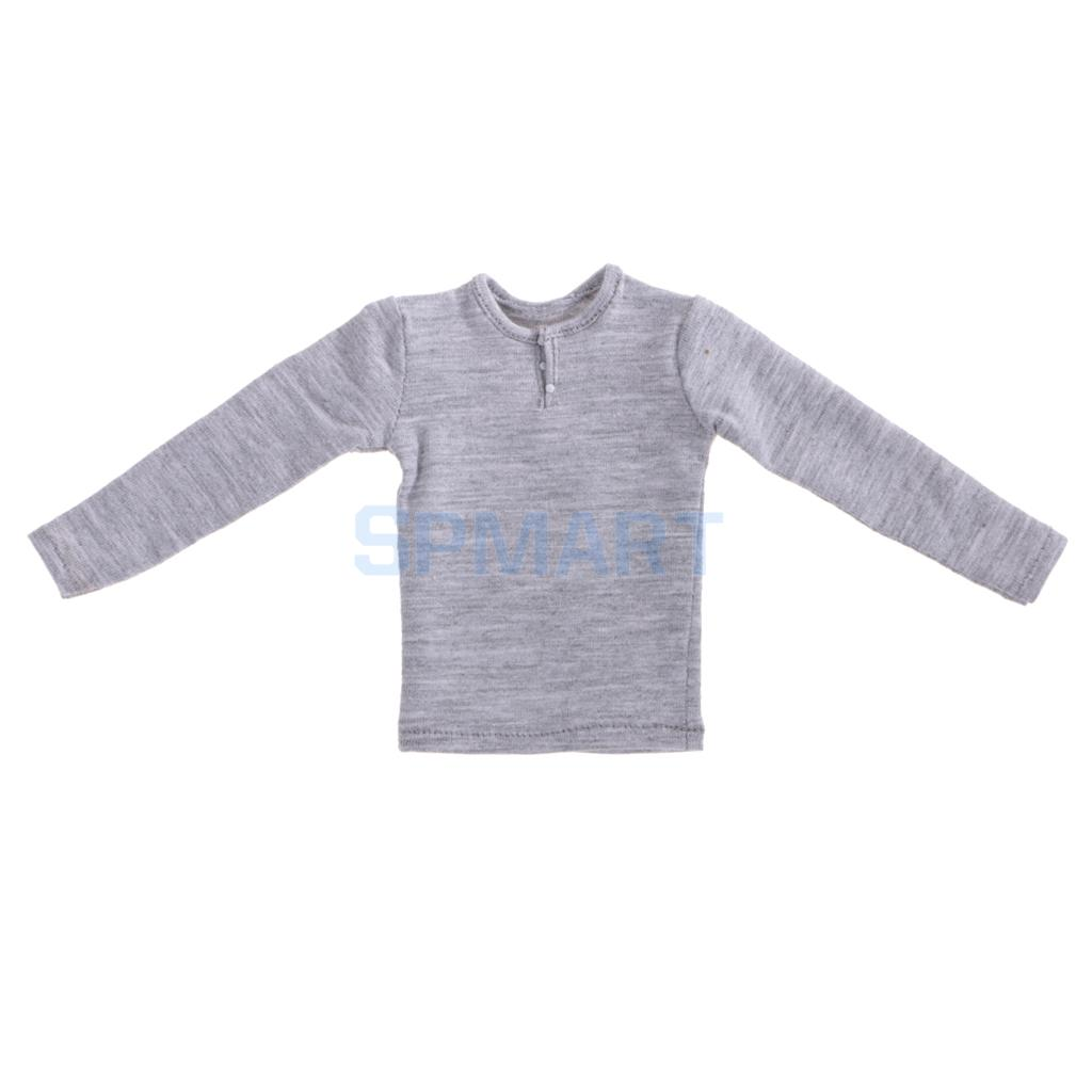 Gray Long Sleeve T-shirt Top 1//6 Scale 12/'/' Male Figure Clothes Accessories