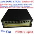 mini pc box Barebone MINI ITX Server with fan Intel Atom D2550 1.86Ghz CPU 4*82583V Gigabit LAN Wake on LAN Watchdog support
