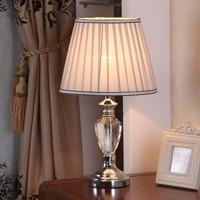 High Quality K9 Clear Crystal Table Lamp Porcelain Farbic Shade Bedside Table Lamps LED Desk Light Lamparas De Mesa Tafellamp