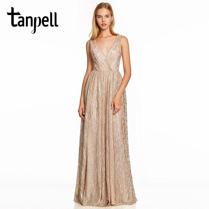 Tanpell v neck gilding evening dress pink sleeveless backless floor length a line gown women wedding formal long evening dresses