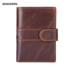 GENODERN Cow Leather Men Wallets with Coin Holder Removable Card Holder Drive License Case Short Wallet for Men Male Purse(China)