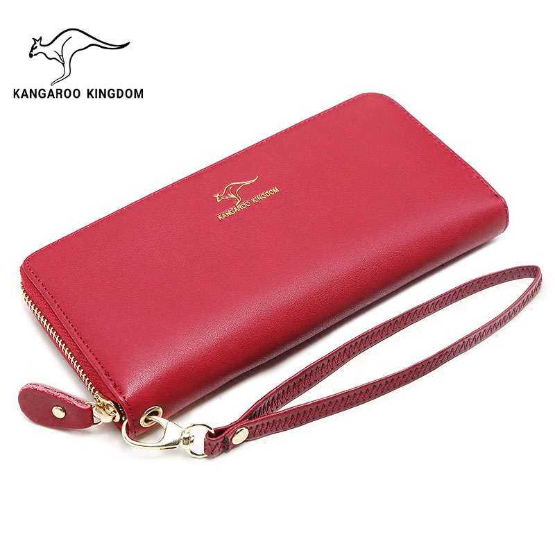 KANGAROO KINGDOM fashion brand women wallets split leather long zipper clutch wallet organizer purse