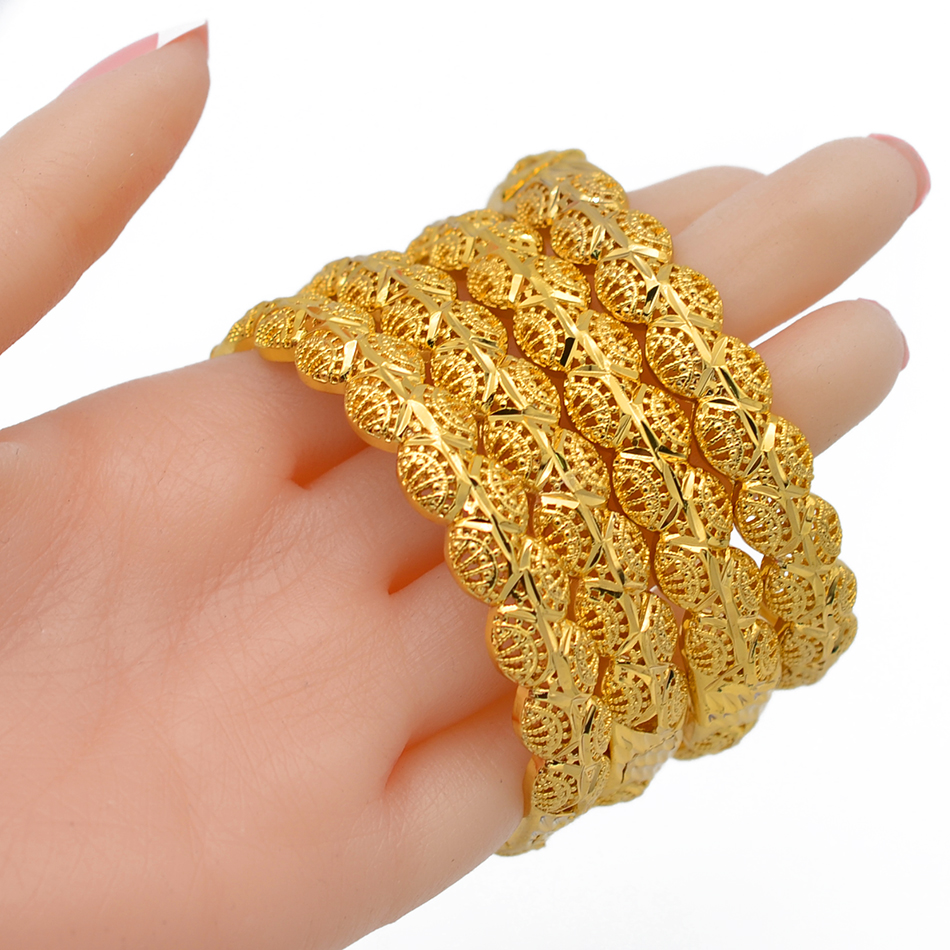 Image 2 - Anniyo 4Pieces/Openable Dubai Gold Color Women Bangles Ethiopian Bracelets&Bangles African Jewelry Arabic Middle East #211506-in Bangles from Jewelry & Accessories