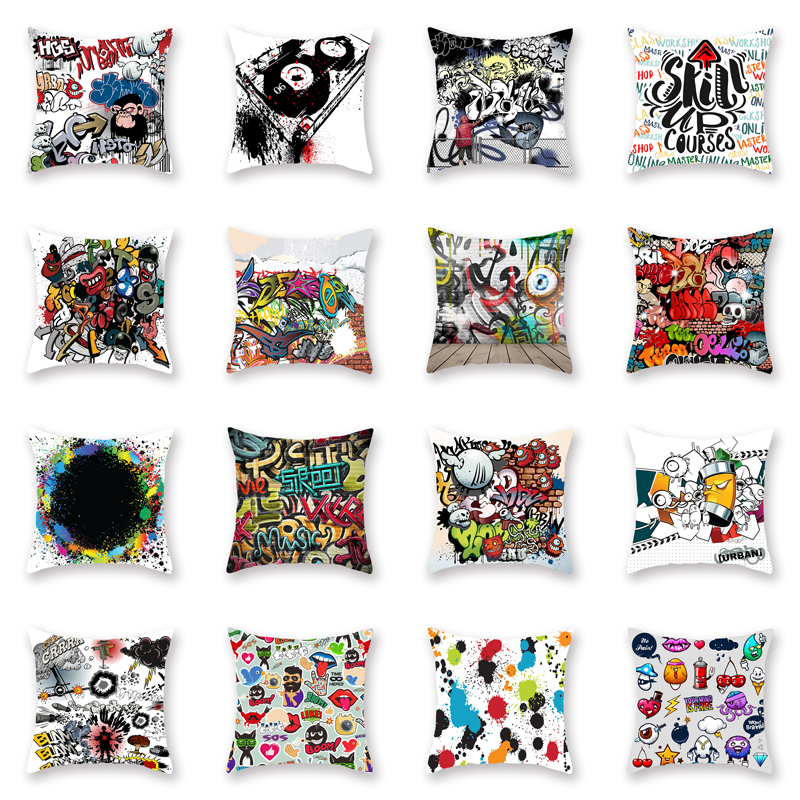 Factory Direct New Color Street Graffiti Style Polyester Printing Pillow Cover Sofa Cushion Cover Car Pillowcase Lumbar Pillow