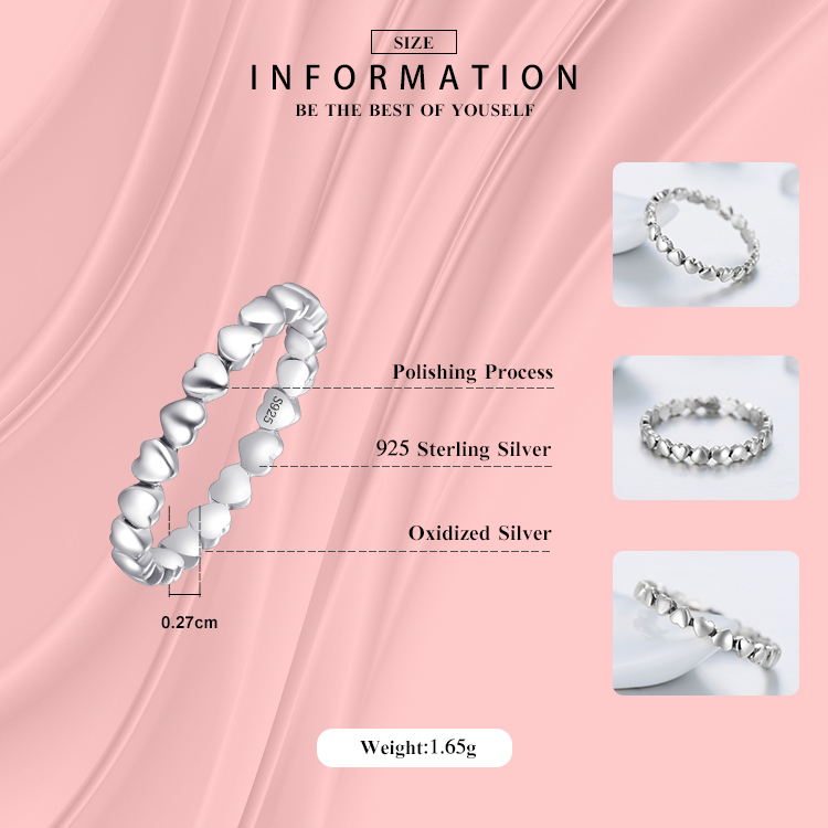 Hot Otentik Asli Mode 100% Padat 925 Sterling Silver Jantung Cincin - Perhiasan fashion - Foto 2