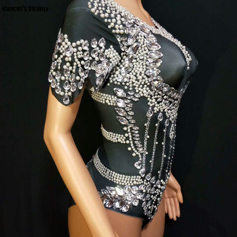 Rhinestone Pearl Short Siamese Printed Stretch Jumpsuit Rhinestones One Piece Stage Singer Dancer Sexy Performance Rompers 201 in Chinese Folk Dance from Novelty Special Use