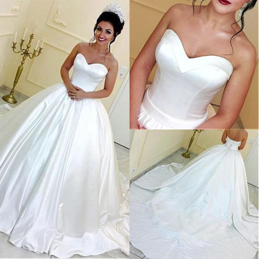Exquisite Satin Sweetheart Neckline Ball Gown Wedding Dresses Court Train Corset Bridal Gowns Robe De Mariage with Petticoat