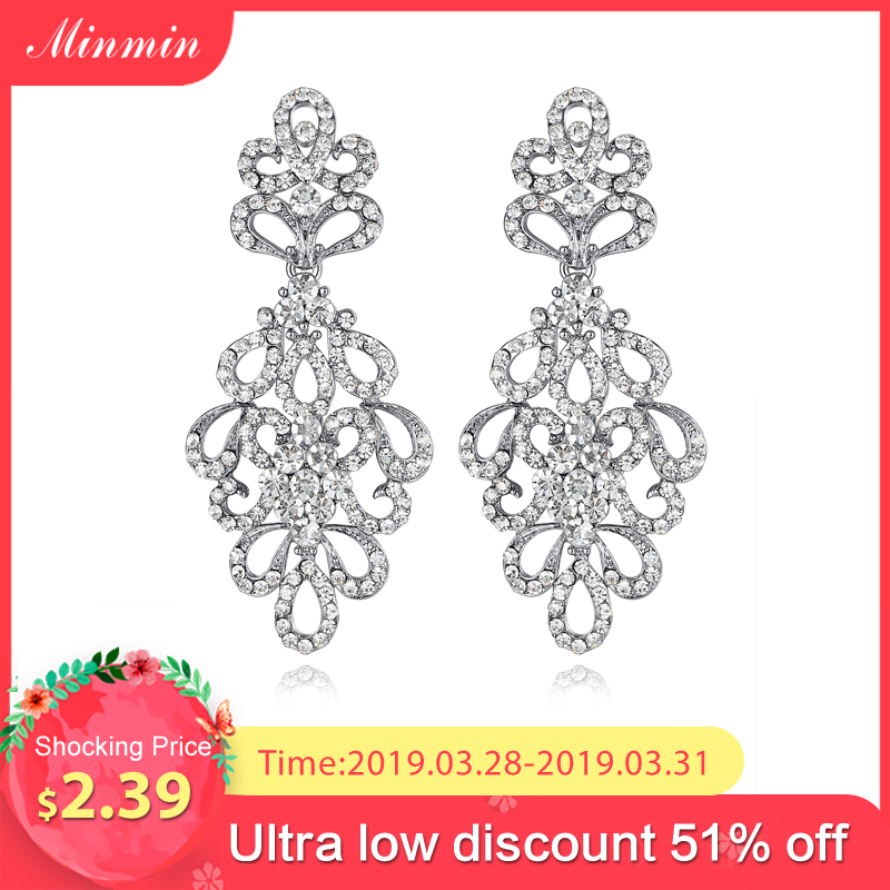 2015 Spring New Luxury Chandelier Austrian Crystal Bridal Drop Earrings for Women White K Plated Elegant Long Earrings EH177