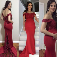 2018 Sexy New Shortsleeve Beaded See Through Burgundy Mermaid Prom Dresses Long Court Train Evening Gowns
