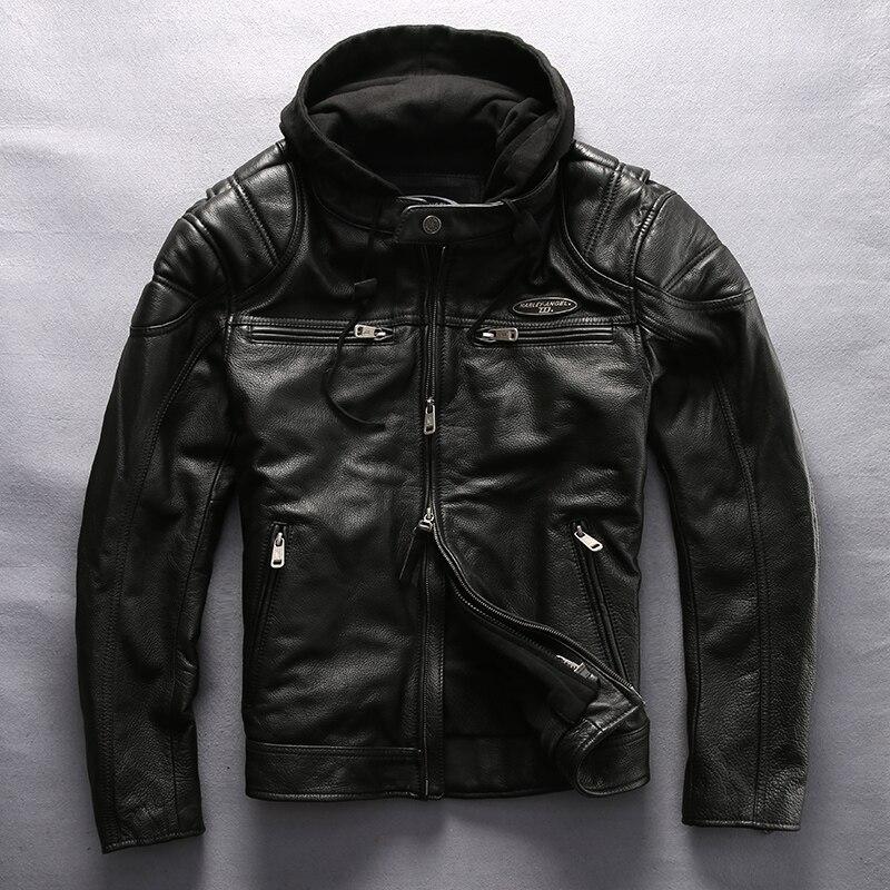 Harley Angel motorcycle leather jacket men hooded