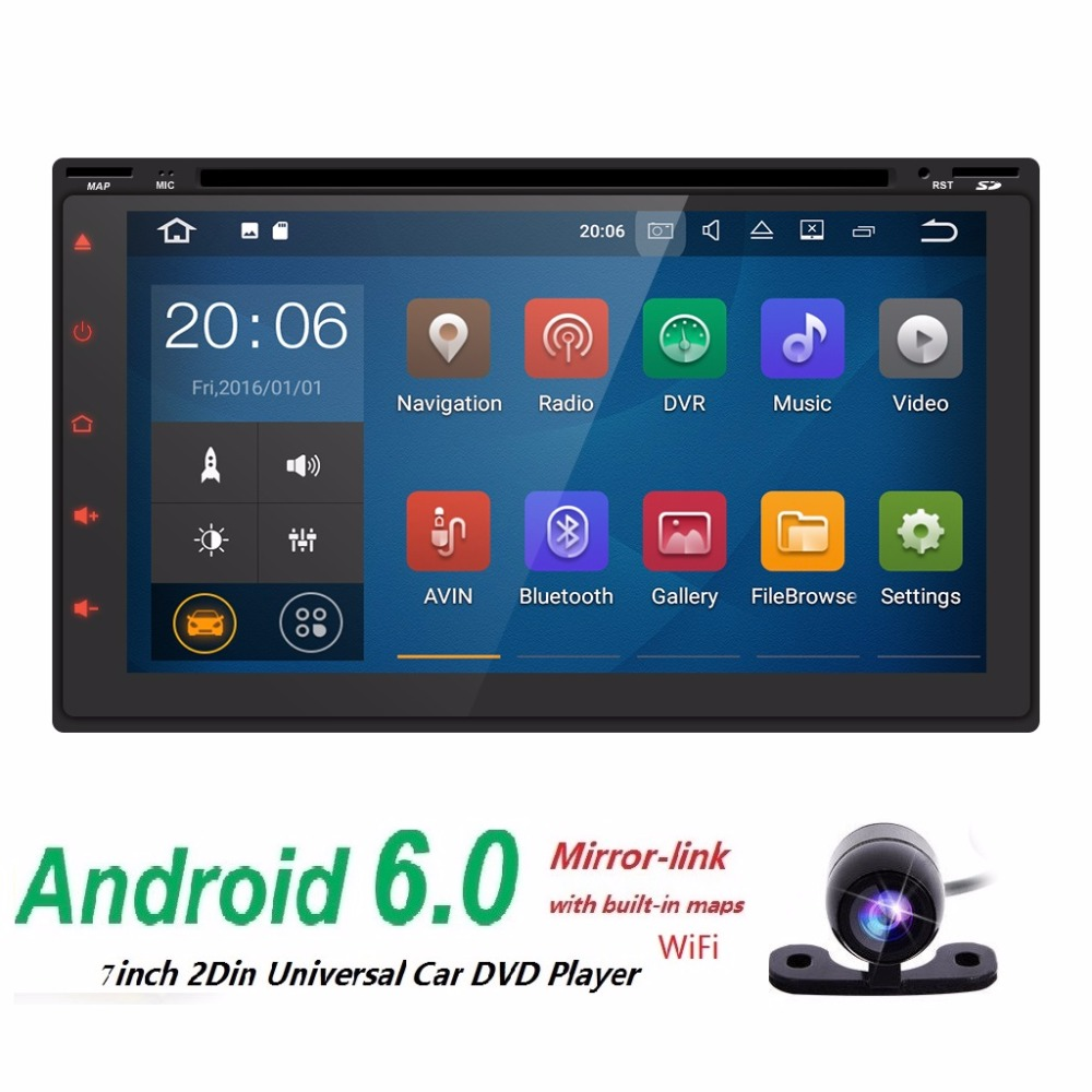 Android WiFi GPS HD 7Double 2 Din Car Stereo MP5 Player Radio Nav DAB Steering wheel Bluetooth RDS built-in mic+Reverse Camera