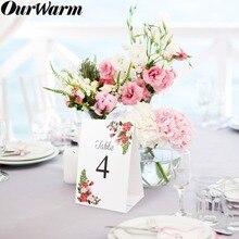 OurWarm Свадебный двусторонний бумажный стол номер карты винный стол этикетки знак день рождения деревенский Бохо Свадебная вечеринка украшения