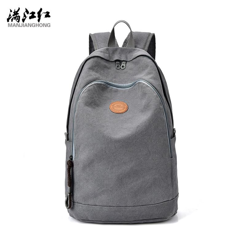 Manjianghong Grey Canvas Men's Backpack Bag Brand High Quality 14.1 Inch Laptop Notebook Mochila for Men Waterproof Bag 1381 2017 oxford men s backpack bag 15 inch laptop notebook mochila for men waterproof back pack school backpack bag nj1