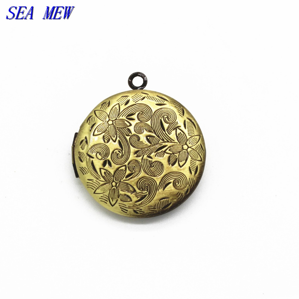 27MM  Antique bronze plated vintage metal copper brass round shape flowers carved photo locket pendant charm diy jewelry cy711 locket