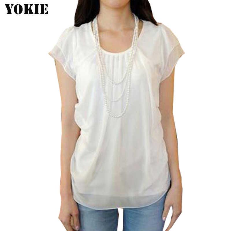 Женские шифоновые блузки рубашку Твердые коротким рукав в виде бабочки, повседневный blusas camisas mujer сорочка femme белые женские Топы Большие размеры