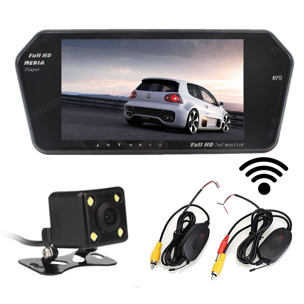 wireless 7 inch TFT LCD Car Monitor mp5 FM USB/SD bluetooth 800* 480 2 AV in display with 4 led Reverse rear view Camera