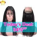 Предварительно Сорвал 360 Фронтальная 8А Бразильские Волосы Девственницы Прямо 360 Кружева Фронтальная Закрытие С Волосами Младенца Бразильский Прямо Человеческих Волос