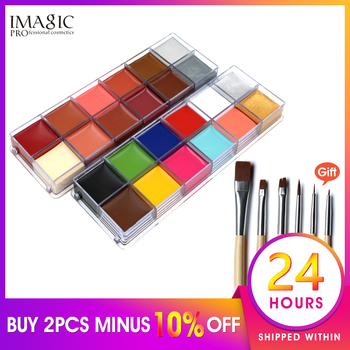 IMAGIC Professional Halloween Party Face Body Painting Body Paint Oil Tattoo Painting Art Makeup Cosmetic Bodypainting 12 Color party cosplay zombie teeth 6 color face body painting pigment white red multi color