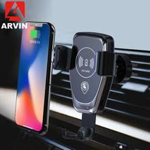 Arvin Wireless Charger Car Holder For iPhone 8P X Samsung S9 Universal Gravity Smart Mobile Phone Quick Mount Stand
