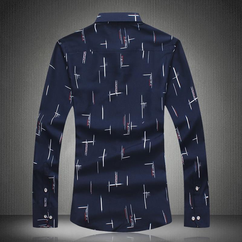 Men Shirts Long Sleeve Summer Print Shirt 2018 Mens Dress Shirts Casual Fashion White Blue Plus Size M- 4XL 5XL 6XL 7XL #3013 3