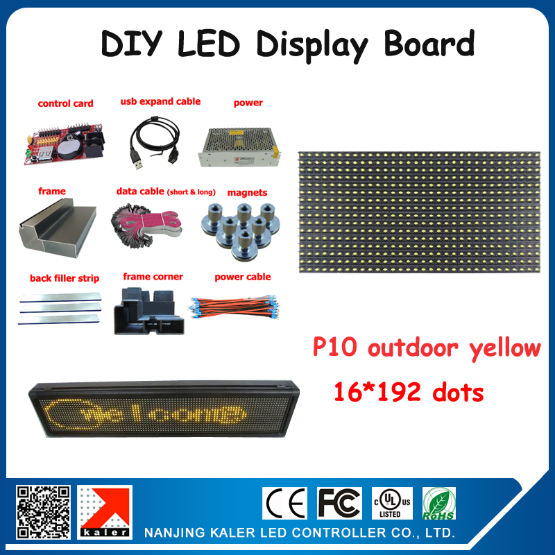 Free Shipping Advertising Outdoor Led Display Programmable Moving Message Diy P10 Led Sign Board Outdoor 24*200cm