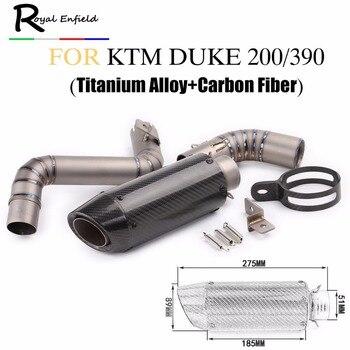 For KTM Duke 200 390 Motorcycle Exhaust Middle Link Pipe Slip-on system Titanium alloy Carbon fiber muffler for KTM DUKE200 390