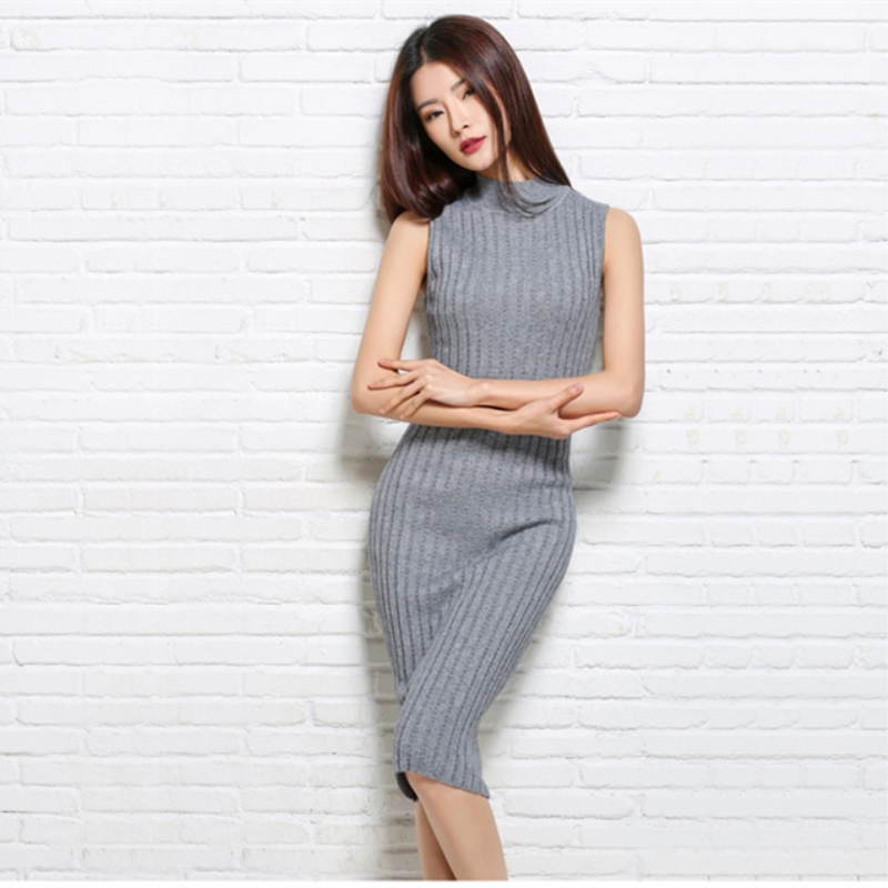 2018 New Fashion Spring Cashmere Wool Sweaters Solid Slim Sexy Dress Turtleneck Sleeveless Resilient Pullovers Knitted Vests